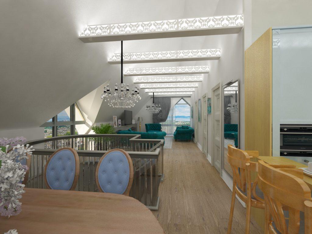3d визуализация дивана в интерьере.